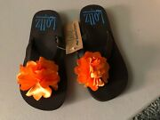 Arch Support Flip Flop Sandals Womens Brown W Orange Flowers Limited Quantity