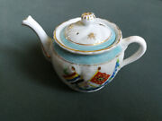 Antique Porcelain Teapot With Chinese Flags