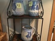 Your Choice Of 3-antique Blue And White Dutch Country Stoneware Pottery Pitchers