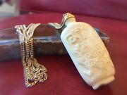 Kenneth Jay Lane Faux Ivorian Snuff Bottle Necklace Kjl Signed Chinese Asian
