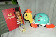 Vintage Fisher Price Tip Toe Turtle Pull Toy Working Bell W/book My House