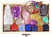 Atperry's 16 Natural Healing Crystals Set In Wooden Box - Ships From The Usa