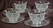 Lot Of 4 Fostoria American Clear Flared 7 Oz Tea / Coffee Cup And Saucer Sets
