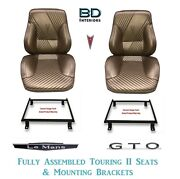 1965 Lemans And Gto Touring Ii Front Bucket Seats Assembled And Adapter Brackets