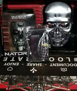 Lootcrate Terminator Lot Of 3, Genisys Endo Skull,t2 Stamped Tin Face Brain Chip
