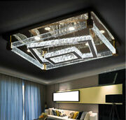 Remote Dimmable Led Bubble Crystal Rectangle Ceiling Light Pendant Chandelier