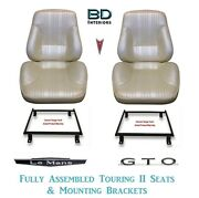 1967 Lemans And Gto Touring Ii Front Bucket Seats Assembled And Adapter Brackets