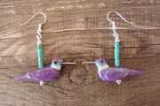 Hand Carved Purple Mohave Turquoise Hummingbird Fetish Earrings By Matt Mitch...