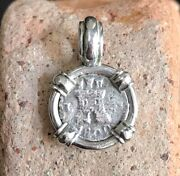 Pirate Coin Treasure Piece Of Eight Authentic 1/4 Reale Spanish Pendant Lion