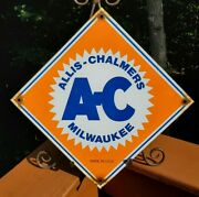 Old Rare Ac Allis Chalmers 11 3/4 Porcelain Gas And Oil Sign Tractor Wisconsin