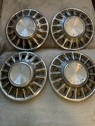 """Lot Of 4 - Vintage 1967 Ford Mustang 14"""" Hub Caps Chrome Pony Car Wheel Covers"""