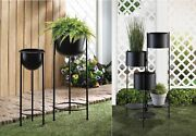 Tall Planters Outdoor Large Indoor Live Plant Iron 3 Tier Stand Backyard Black 2