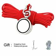 Double Sided Magnet Fishing Kit Grappling Hooks 3 Rope Glove 600lb 100ft Recover