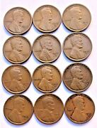 1916-s Wheat Cents Set Of 12 Coins In Good To Very Good Grade 1