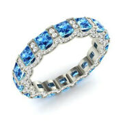 3.88 Carat Real Diamond Blue Topaz Eternity Band 14k Solid White Gold Size 6 7 8