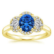 1.35 Carat Real Blue Sapphire Diamond Rings 14k Yellow Gold Rings Size 6.5 7 8 9