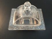 Rare Depression Glass Butter Dish Rectangular Floral Daisy 1940andrsquos