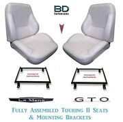 1968 Lemans And Gto Touring Ii Front Bucket Seats Assembled With Brackets