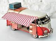 Vw Circa 1966 Tin Model 1.18 Scale Camper Van,with Awning And Suitcase Handcraft