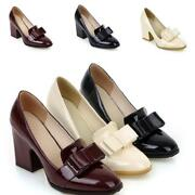 Spring New Thin Shoes Ladies Bowknot High Block Heels Pointy Toe Slip On Sweet