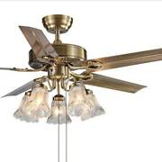 Glf 52 Ceiling Fan With Light Simple Reversible Remote Control Chandelier Decor