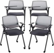 Gray 4 Reception Stacking Chair Mesh Guest Nesting With Tablet And Caster Wheel