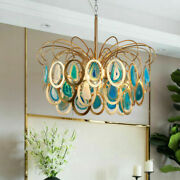 Glass Chandeliers Agate Peacock Pendant Light Dining Room Bedroom Ceiling Lamp