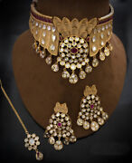 Indian Bollywood Gold Plated Kundan Choker Necklace Earring Bridal Jewelry Set