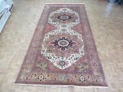 8 X 16and0391 Hand Knotted Ivory Antiqued Serapi Oriental Rug G8835