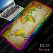 World Map Mouse Pad Colorful Non-slip Desk Rgb Gaming Computer Led Lighting Usb