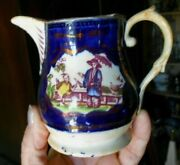 Cobalt Pink Luster English Pitcher Export 19th Cent Antique Chinoiserie C1830s