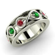 0.80 Ct Natural Ruby And Green Emerald Bands 14k Solid White Gold Rings Size 6 7 8