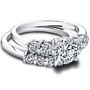 1.40 Carat Real Diamond Engagement Band Sets 14k Solid White Gold Size 5.5 6 7 8