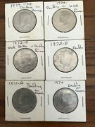 Lot Of 6 Kennedy Half Dollar Coins Double Striked Back Error 1970s
