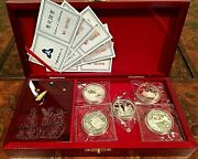 China 1996 Invention And Discovery 5 Silver Coins Music Box Dbl Sealed Proof