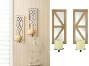 Candle Holders For Wall Indoor Decor Sconce Set Rustic Mirrored Wood Geometric