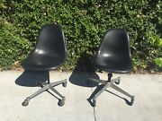 Pair Of Vintage Herman Miller Ray And Charles Eames Pscc And Dat Swivel Chairs Mcm