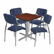 Regency Via 30 Square X-base Table- Cherry/grey And 4 Uptown Side Chairs- Navy