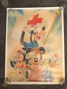 Rare Red Cross Disney Disaster Relief Posters Lot Of Four Mickey