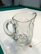 Vintage Heavy Thick Clear Glass Beer 8.5 Water Pitcher W/ Starburst