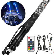 2pcs 5ft Chasing Spiral Led Whip Lights Antenna For Plorais Atv Suv 4wd Rzr 4x4