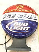 """Budweiser Ice Cold Bud Light Round Plastic Bar Lamp Grimm Ind. Approx. 20x14"""""""