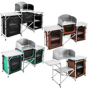 Camping Kitchen Table Picnic Cabinet Table Cooking Storage Rack W/ Zippered Bags