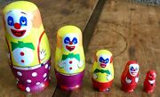 Collectible Evil Clown Nesting Dolls Matryoshka Style Set Of 5 Hand Painted Wood