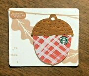 Starbucks Gift Card 2018 Die Cut Acorn Red Gold Autumn Fall Holiday No Value