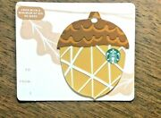 Starbucks Gift Card 2018 Die Cut Acorn Yellow Gold Autumn Holiday No Value