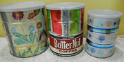 Lot Of 3 Vintage Butternut Coffee Cans Retro Atomic