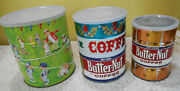 Lot Of 3 Vintage Butternut Coffee Cans Baseball Coffee Atomic