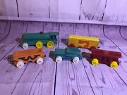 Vintage Strombecker Wood Train Set - Engine Cars And Caboose - 5 Pieces