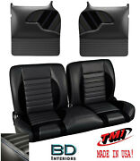 Sport R 55 Bench Seat And Molded Door Panels 1955-1959 Chevy Trucks - Blue Stitch